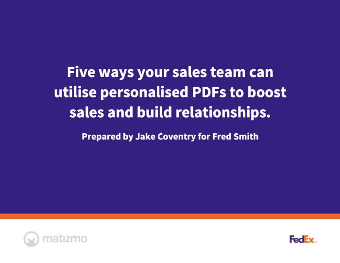 Personalised Sales PDF